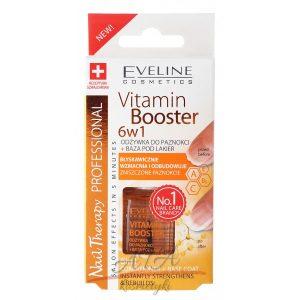 EVELINE - NAIL THERAPY PROFFESSIONAL 6in1 Vitamin Booster - Wzmacniająca odżywka do zniszczonych paznokci + Baza pod lakier 12 ml